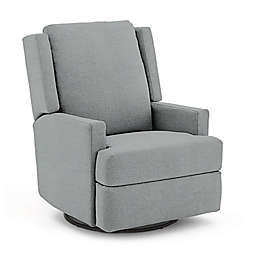 Best Chairs Custom Ainsley Swivel Glider Recliner in Blue Fabrics