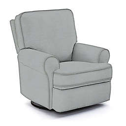 Best Chairs Custom Tryp Swivel Glider Recliner in Blue Fabrics