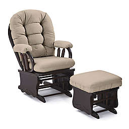 Best Chairs Custom Bedazzle Glide Rocker and Ottoman in Tan Fabrics