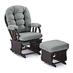 Best Chairs Custom Bedazzle Glide Rocker and Ottoman in Blue Fabrics