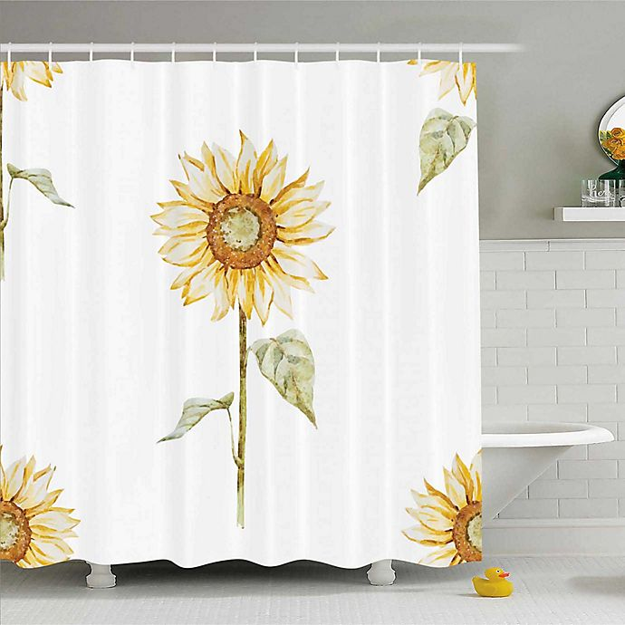 Sunflower Shower Curtain In Yellow Green Bed Bath Beyond