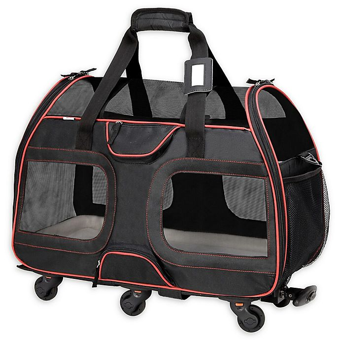 Alternate image 1 for Katziela Luxury Rider Pet Carrier in Black/Red