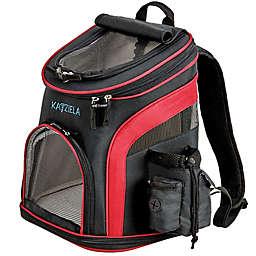 Katziela Voyager Backpack Pet Carrier in Black/Red