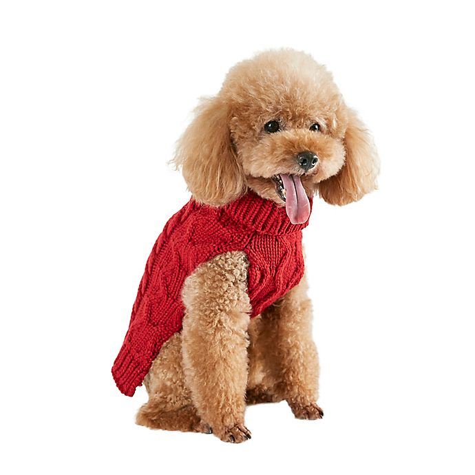 Alternate image 1 for Bee & Willow™ Home Cable Knit Dog Sweater in Red