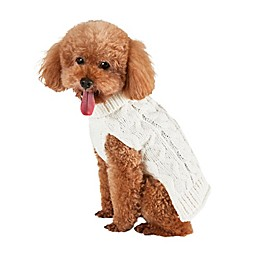 Bee & Willow™ Home Cable Knit Dog Sweater in White