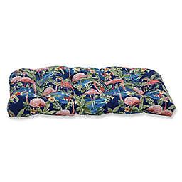 Pillow Perfect Flamingo Lagoon Wicker Loveseat Cushion