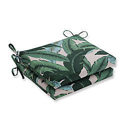 Pillow Perfect Swaying Palms Capri 16-Inch Square Seat Cushions (Set of 2)