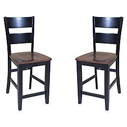 TTP Furnish Modern Dining Chairs in Cherry/Black (Set of 2)