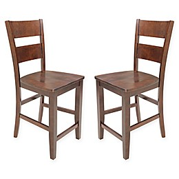 TTP Furnish Ladder Back Counter Height Dining Chairs in Espresso (Set of 2)