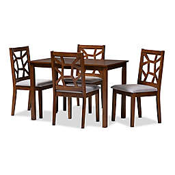 Baxton Studio Gino 5-Piece Dining Set in Walnut/Grey