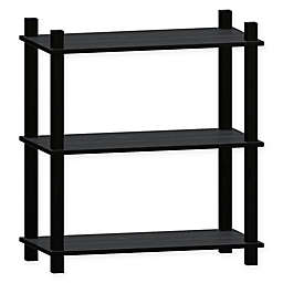 Linon Home Movein 3-Shelf Etagere Bookcase in Black