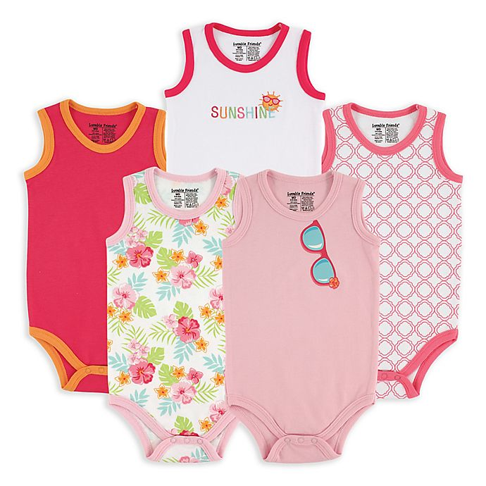 Alternate image 1 for BabyVision® Luvable Friends® 5-Pack Sunglasses Sleeveless Bodysuits
