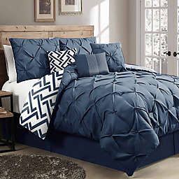 Nanshing Loren Reversible 7-Piece California King Comforter Set in Navy