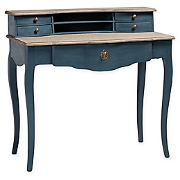 Baxton Studio Isabella Writing Desk in Blue/Oak