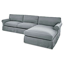 Olivia Right Side Sectional Sofa in Spa Blue