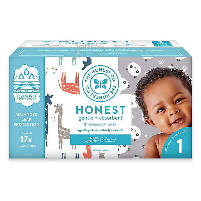 Alternate image 1 for Honest 80-Count Size 1 Diapers in Balloons/Giraffe Pattern