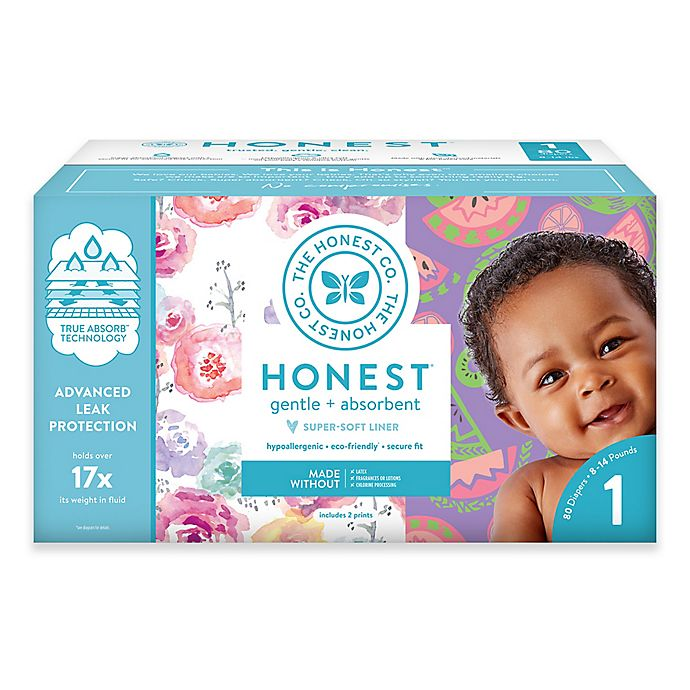 Alternate image 1 for Honest 80-Count Size 1 Diapers in Rose Blossom Pattern