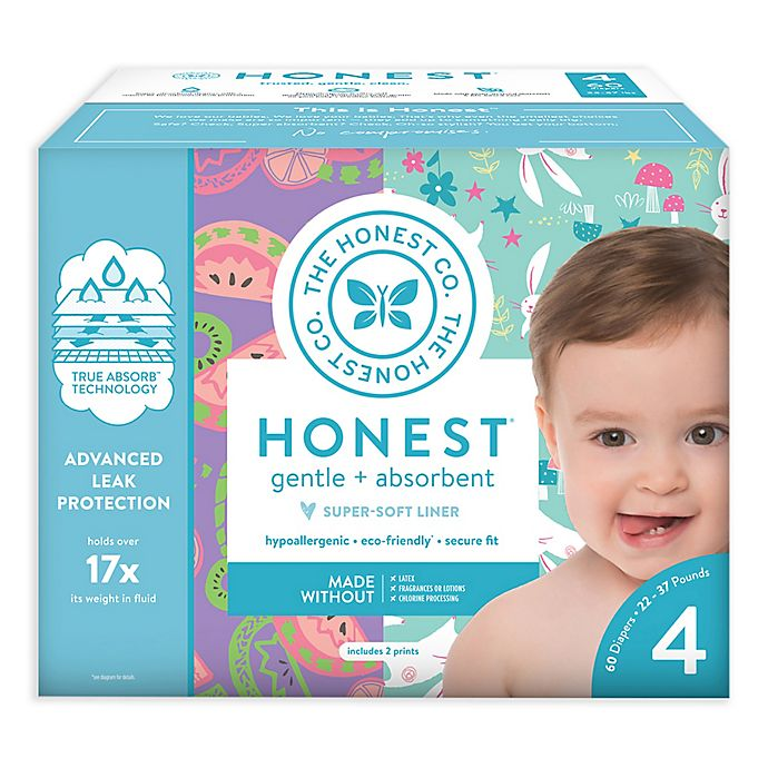 Alternate image 1 for The Honest Company® Bunnies and Sliced Fruit Size 4 60-Count Disposable Diapers