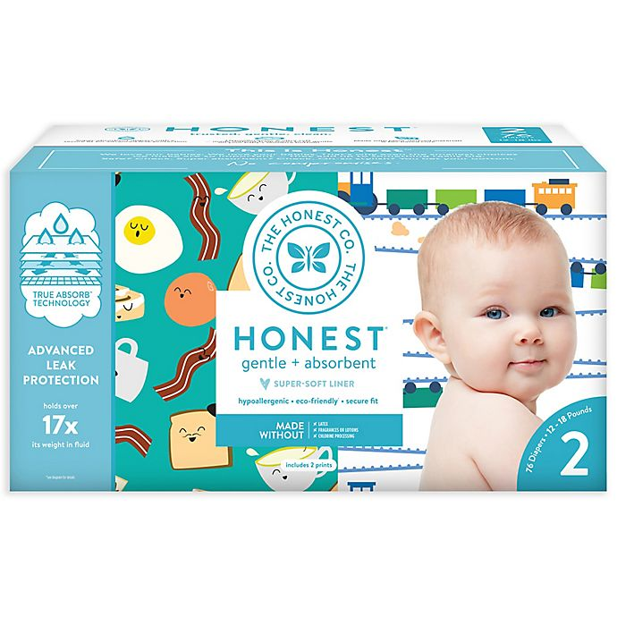 Alternate image 1 for Honest 76-Pack Size 2 Diapers in Trains & Breakfast Patterns