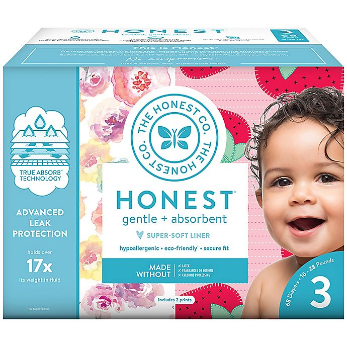 Alternate image 1 for Honest 68-Pack Size 3 Diapers in Rose Blossom & Strawberries Patterns