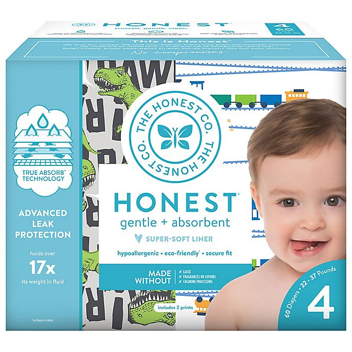 Alternate image 1 for Honest 60-Pack Size 4 Diapers in T-Rex & Trains Patterns