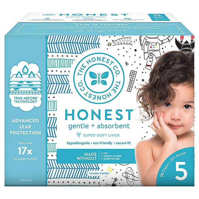 Alternate image 1 for Honest 50-Pack Size 5 Diapers in Space Travel Pattern