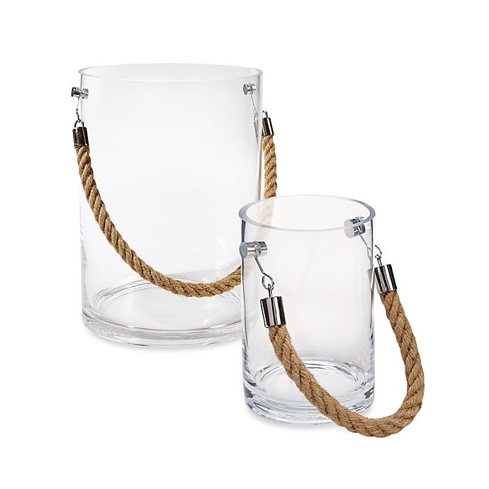 Alternate image 1 for Clear Glass Candle Holder with Rope Handle