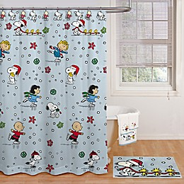 Peanuts™ Holiday Skating 70-Inch x 72-Inch Shower Curtain with Hooks Set in Light Blue