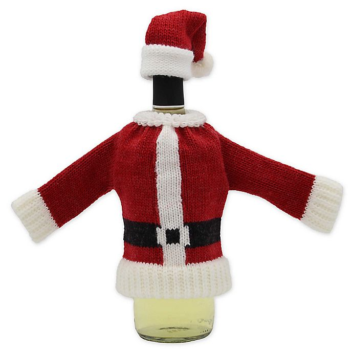 Alternate image 1 for Santa Knit Sweater and Hat Bottle Cover Set