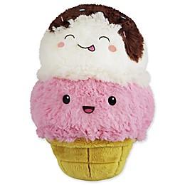 Squishable Mini Ice Cream Cone Plush Toy in White/Pink