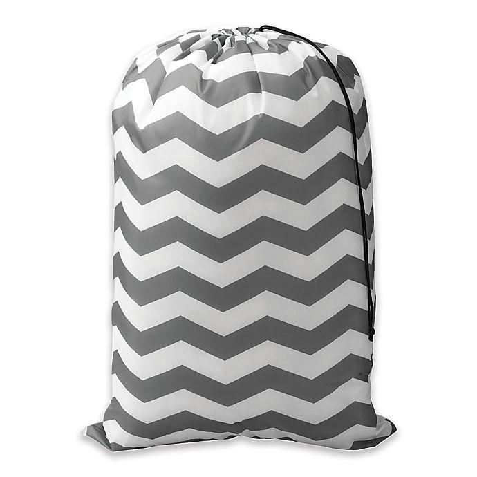 Alternate image 1 for Chevron Novelty Laundry Bag in Grey/White