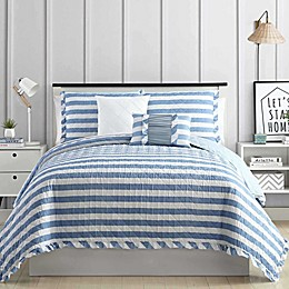 Pacific Coast Textiles Linen Stripe 5-Piece Quilt Set