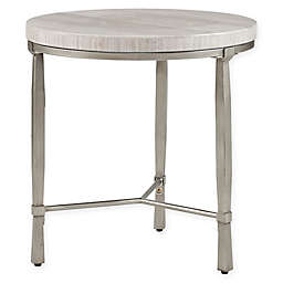 Madison Park Reese Round End Table in Silver/Cream