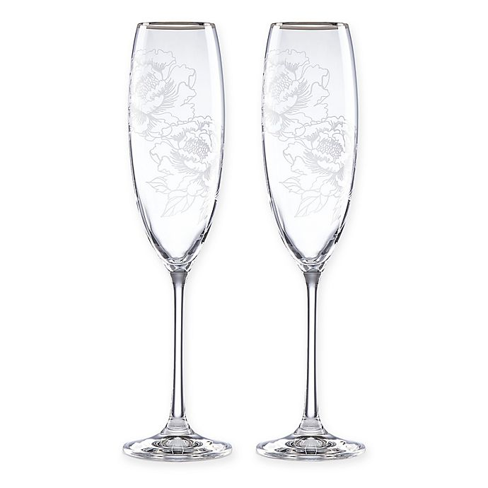 Alternate image 1 for Lenox® Peony Champagne Flutes (Set of 2)