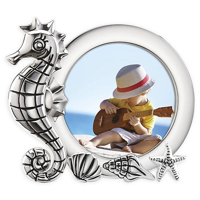 Alternate image 1 for Reed & Barton Mystic Sea™ Seahorse 3-Inch Round Picture Frame