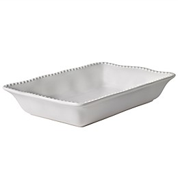 Modern Farmhouse Home Organic Bead 3 qt. Rectangular Baking Dish in White