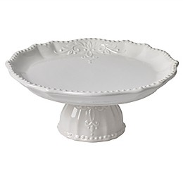Modern Farmhouse Home Footed Cake Plate in White