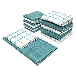Checker Box 14-Piece Kitchen Towel and Dish Cloth Set in Taupe