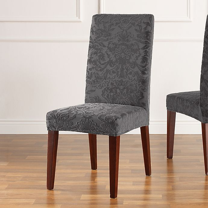 Sure Fit Stretch Jacquard Damask Short Dining Chair Slipcover Bed Bath Beyond