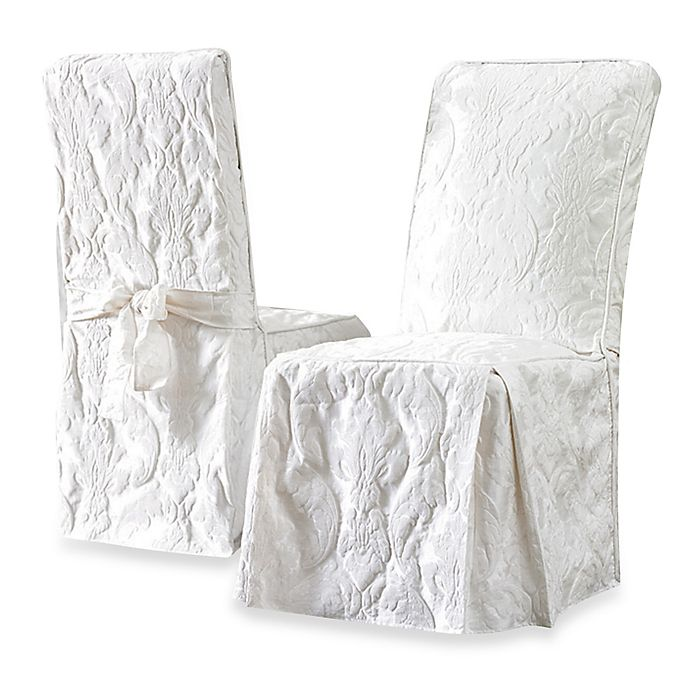 Remarkable Sure Fit Matelasse Damask Long Dining Chair Cover Bed Uwap Interior Chair Design Uwaporg