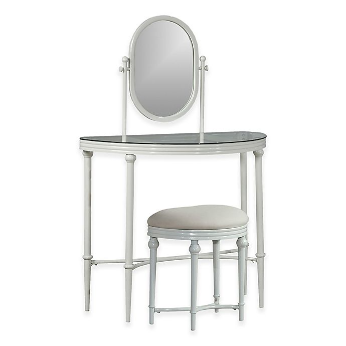 Hillsdale Furniture Cape May Glass Top Vanity And Stool