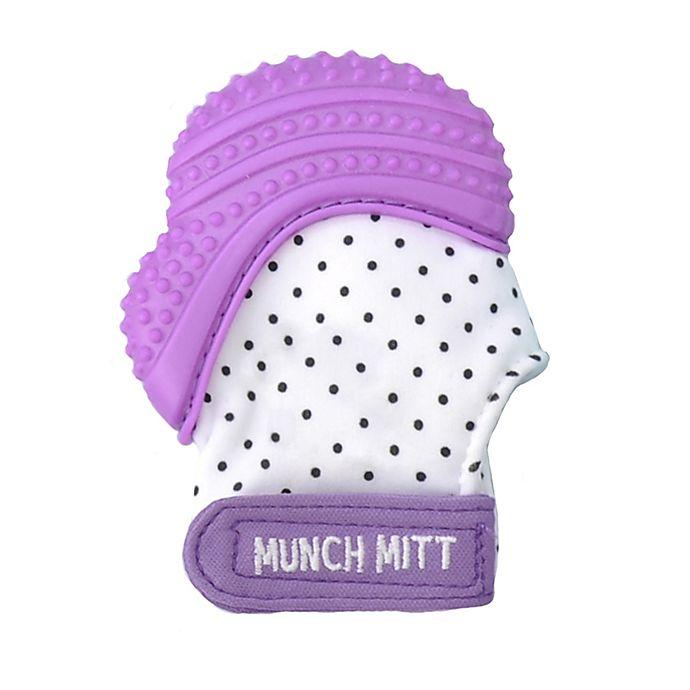 Alternate image 1 for Munch Baby Munch Mitt Baby Teething Mitten in White/Purple