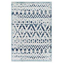 Modway Tamako Trellis 8' x 10' Indoor/Outdoor Area Rug in Ivory/Blue