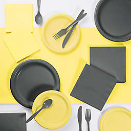Touch of Color 221-Count Party Supplies Kit in Mimosa Yellow/Grey