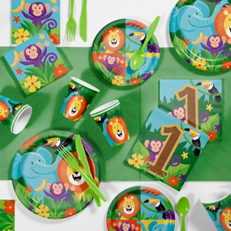 Creative ConvertingTM 81 Piece Jungle Safari 1st Birthday Party Supplies Kit