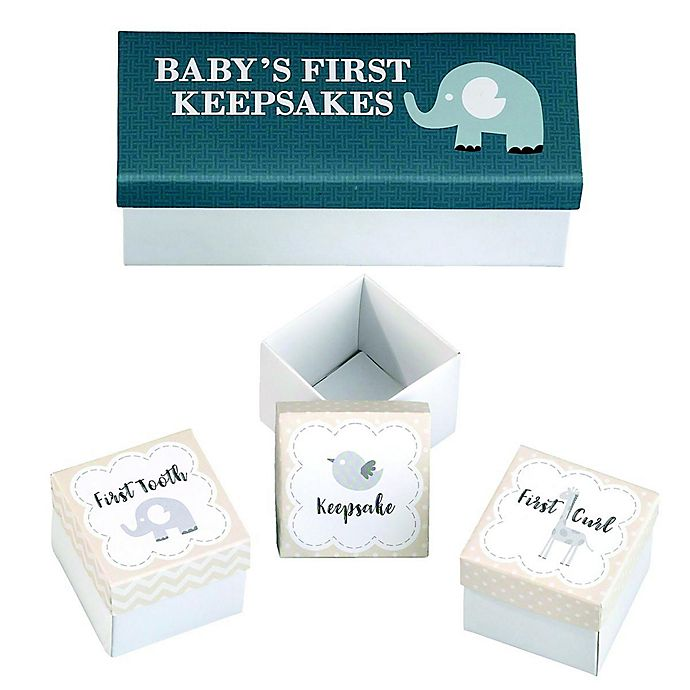 Alternate image 1 for Lillian Rose™ Baby's First Keepsake Boxes in Grey (Set of 3)