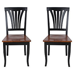 TTP Furnish Sturdy Dining Chairs in Black/Brown (Set of 2)
