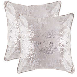 Metallic Mink Splatter Print 20-Inch Square Throw Pillows (Set of 2) in Grey