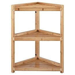 Haven™ No Tools Bamboo Corner Shelf