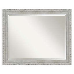 Amanti Art Rustic 32-Inch x 26-Inch Framed Wall Mirror in Whitewash